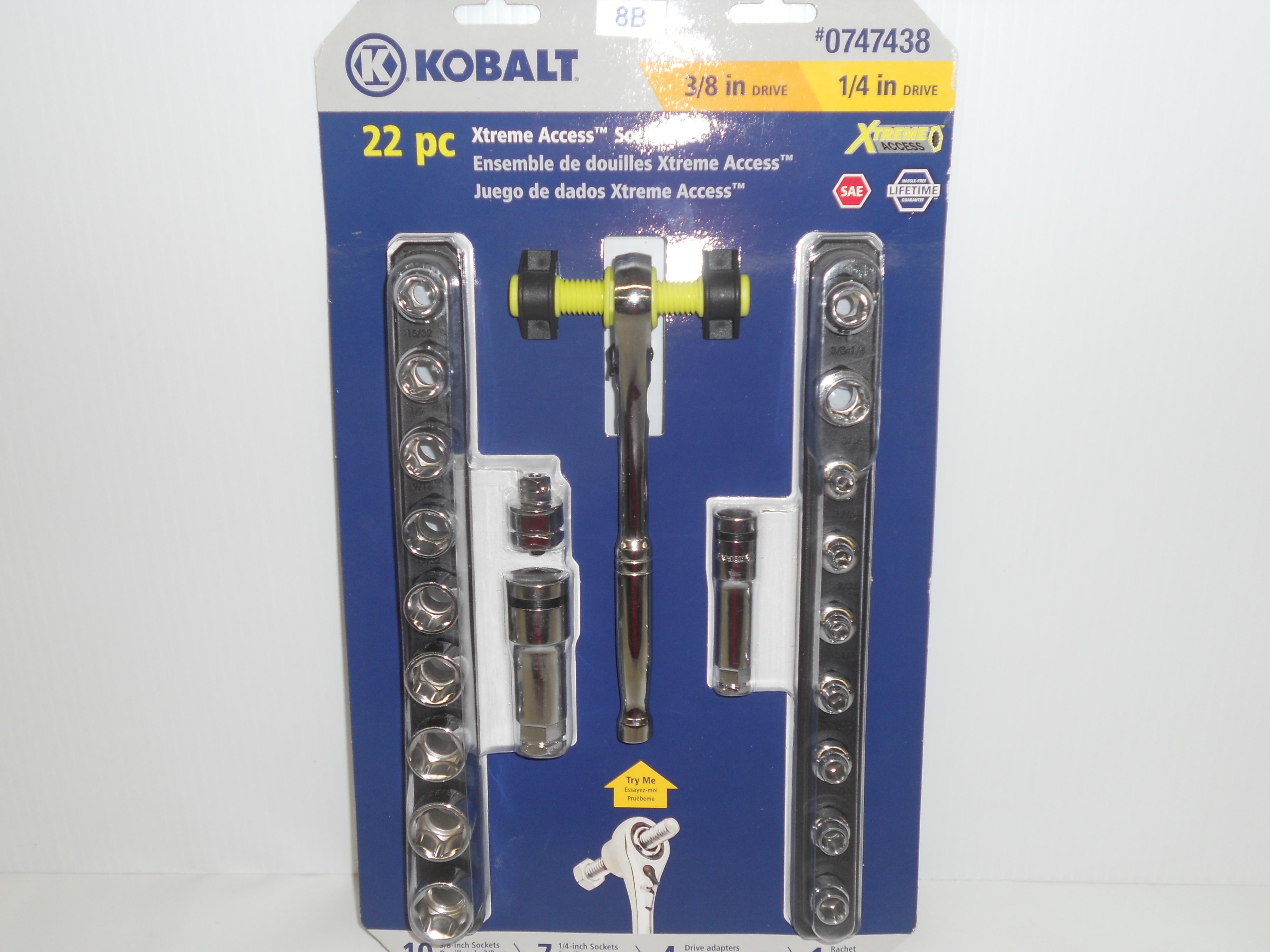 """Kobalt 22-piece Xtreme Access Socket set 1/4"""" & 3/8"""" drive"""