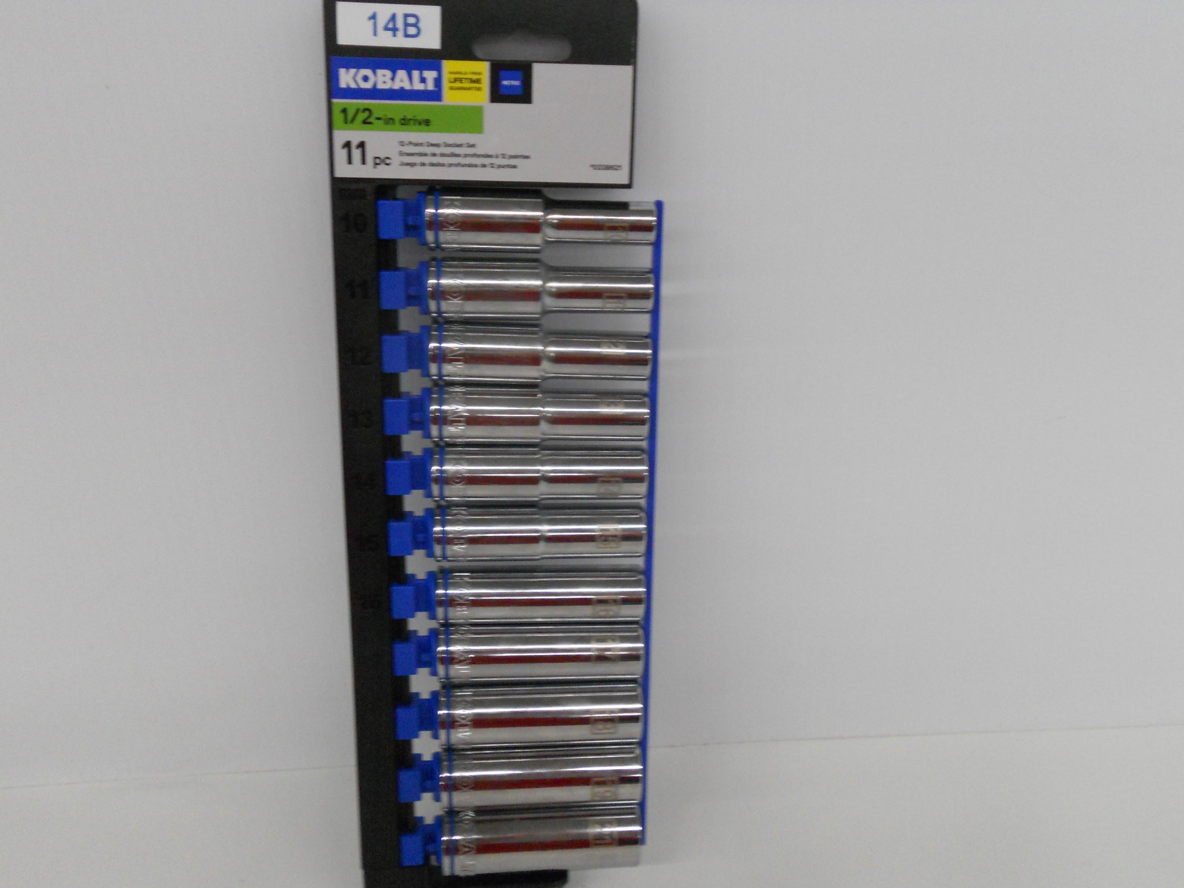 """Kobalt 11-piece 1/2"""" drive Metric deep well sockets 10mm to 21mm"""