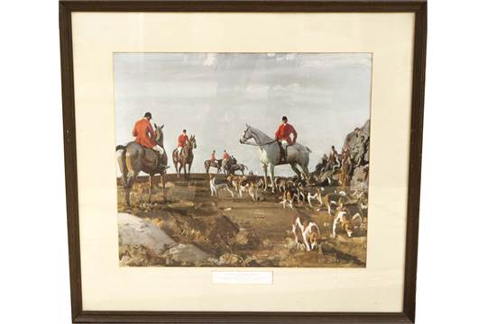 SIR ALFRED MUNNINGS, 1878 - 1959, A PAIR OF COLOURED HUNTING PRINTS ...