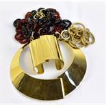 JAEGER; a gold toned metal cuff and matching collar, a faux tortoiseshell plastic chain necklace,