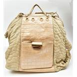 VERSACE; a cream crocodile skin leather and cream Napa leather backpack/shoulder bag, with gold-tone
