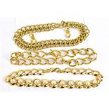 MONET; two gold tone chain necklaces, a Napier faux pearl and gold tone necklace and drop earring