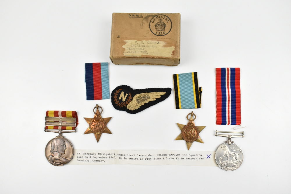 A WWII Air Crew Europe Star medal group awarded to Sergeant (Navigator) Andrew Steel Carscadden,