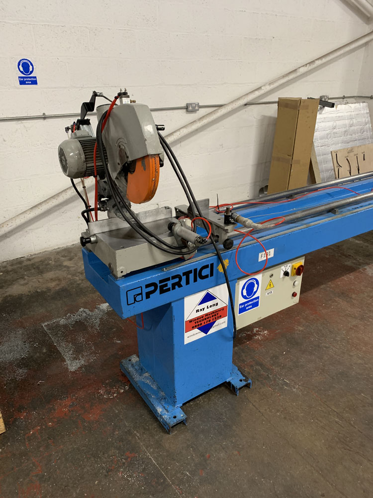 Pertici Univer Model 332P Twin Headed Mitering Sawing Machine. - Image 10 of 17
