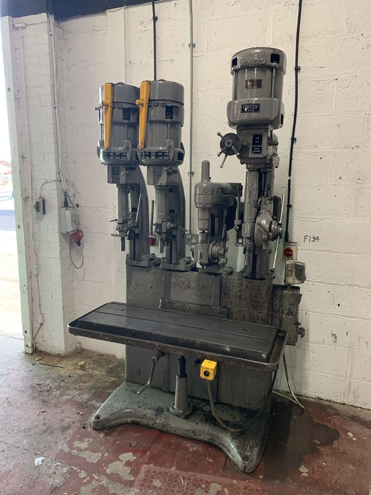 Herbert 4 Spindle in Line Drill. Table Size 46'' x 15 1/2''.