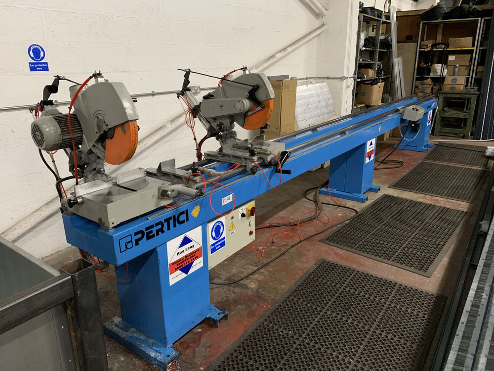 Pertici Univer Model 332P Twin Headed Mitering Sawing Machine.