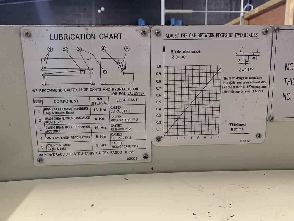 CARTER Model QC12 K-6 x 3200 Hydraulic Sheet Metal Guillotine. - Image 7 of 8