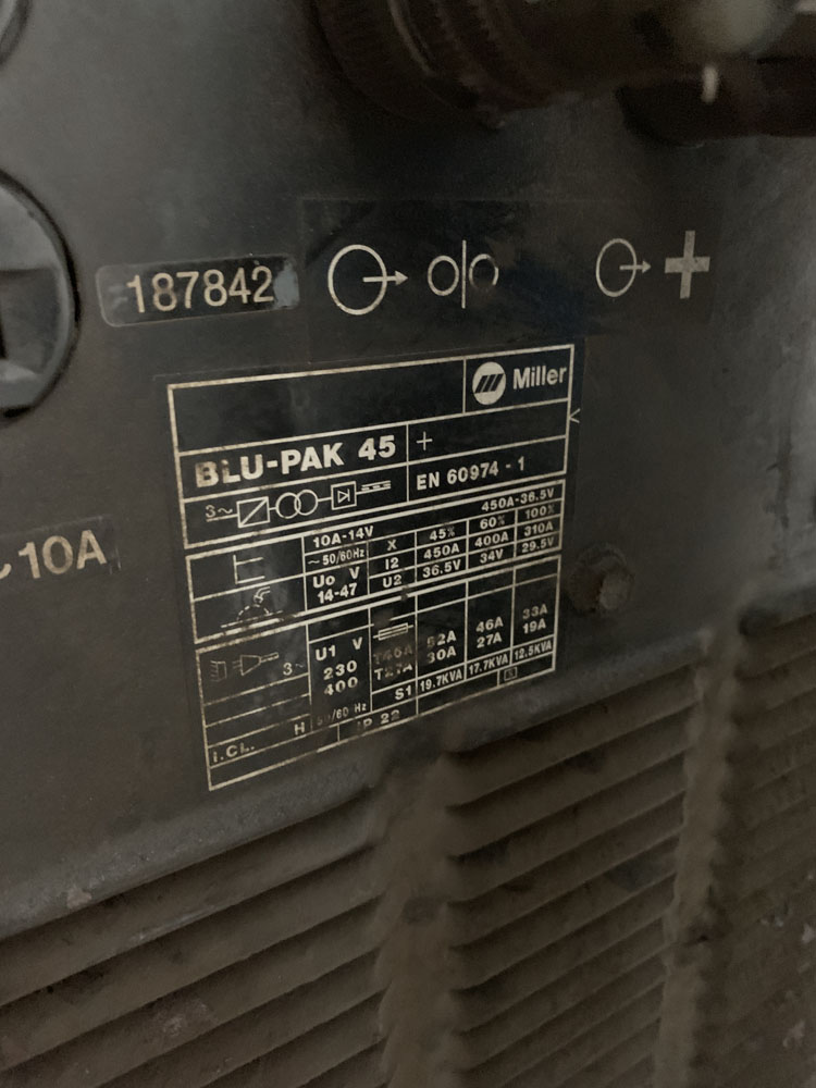 Miller 20 series Blu-Pak 45 Mig Welding Unit with 20 Series Wire Feeder. - Image 5 of 5