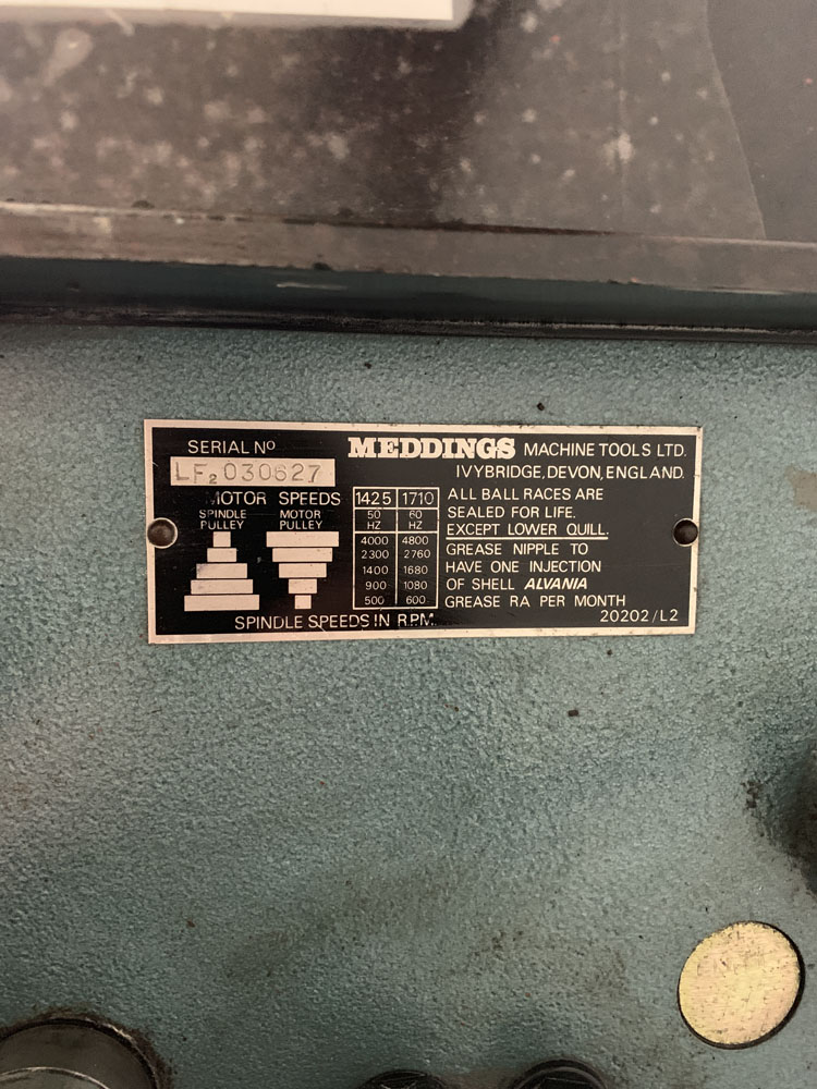 Meddings LF2 Bench Drill. 3 Phase. Table Size 10'' x 10 1/2 ''. - Image 3 of 3