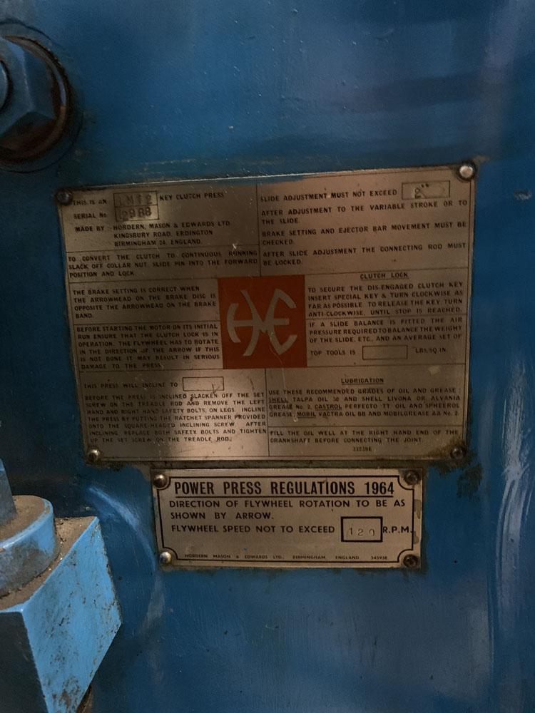 HME LM12 Power Press. 12 Ton Capacity. - Image 4 of 4