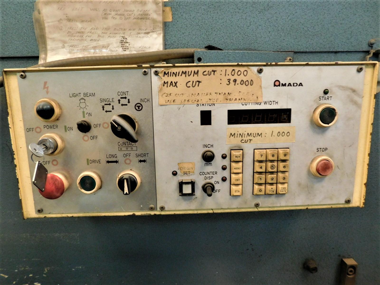 "Lot 11 - 1985 AMADA M-3060 SHEAR, 120.47"" X .25"" CAPACITY, HYDRAULIC, AMADA CONTROL, 60 SPM, RIGHT HAND"