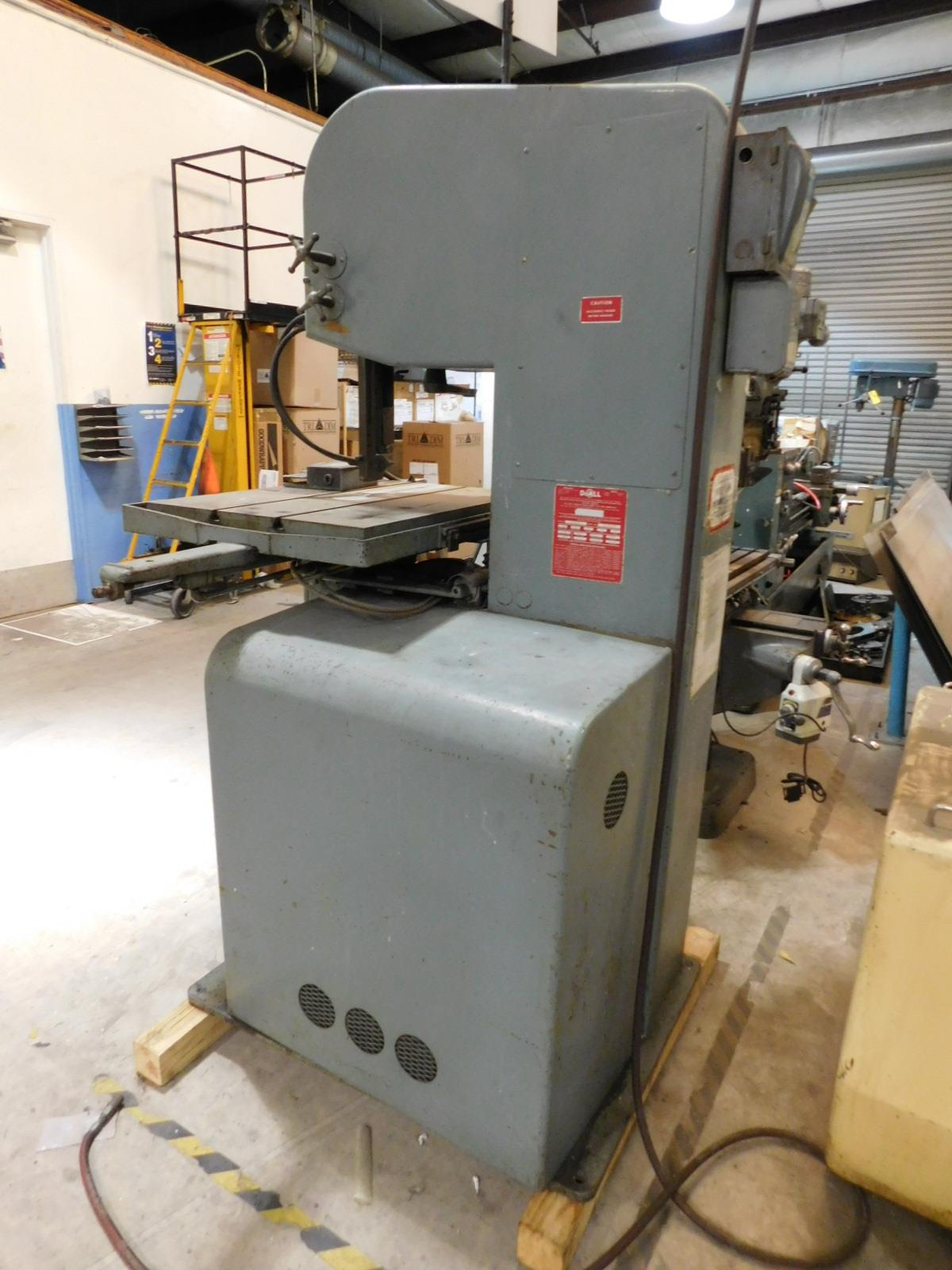 "Lot 15 - DOALL VERTICAL BANDSAW, MODEL 1612-3, S/N 152-67848, W/ DOALL BLADE WELDER, TABLE 30-1/2"" X 24"""