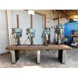 "CLAUSING 4-HEAD DRILL PRESS BENCH, W/ (4) MODEL 2286 20"" VARIABLE SPEED DRILL PRESSES, WORKTOP"