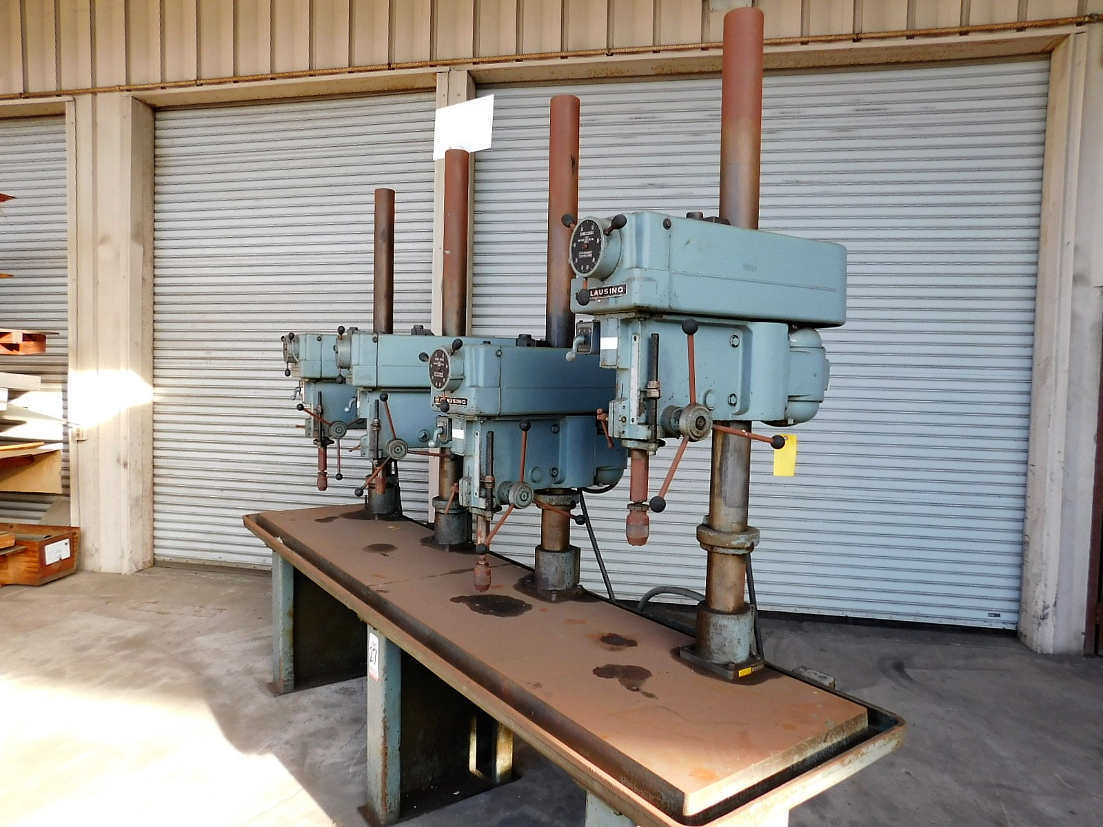 """Lot 27 - CLAUSING 4-HEAD DRILL PRESS BENCH, W/ (4) MODEL 2286 20"""" VARIABLE SPEED DRILL PRESSES, WORKTOP"""