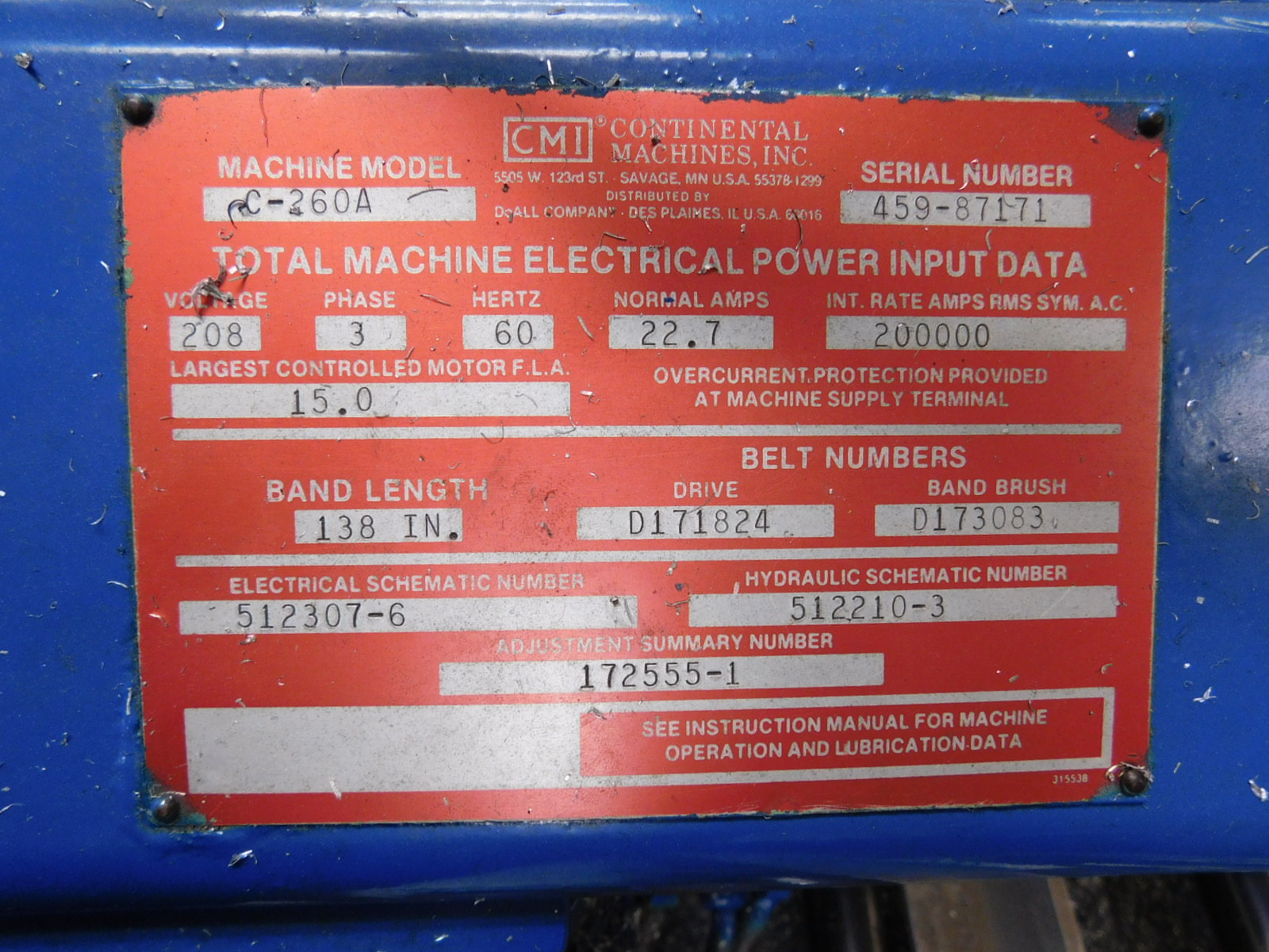 Lot 16 - DOALL HORIZONTAL BAND SAW, MODEL C-260A, S/N 459-87171