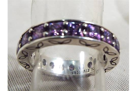 939f6732a A Pandora silver ring, stone set, marked S925 ALE 52, size L with ...