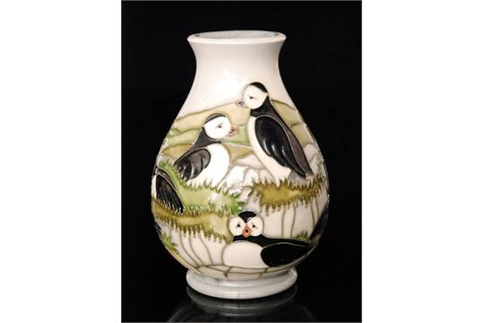 A Moorcroft Pottery Puffin Pattern Baluster Vase Designed By Carole