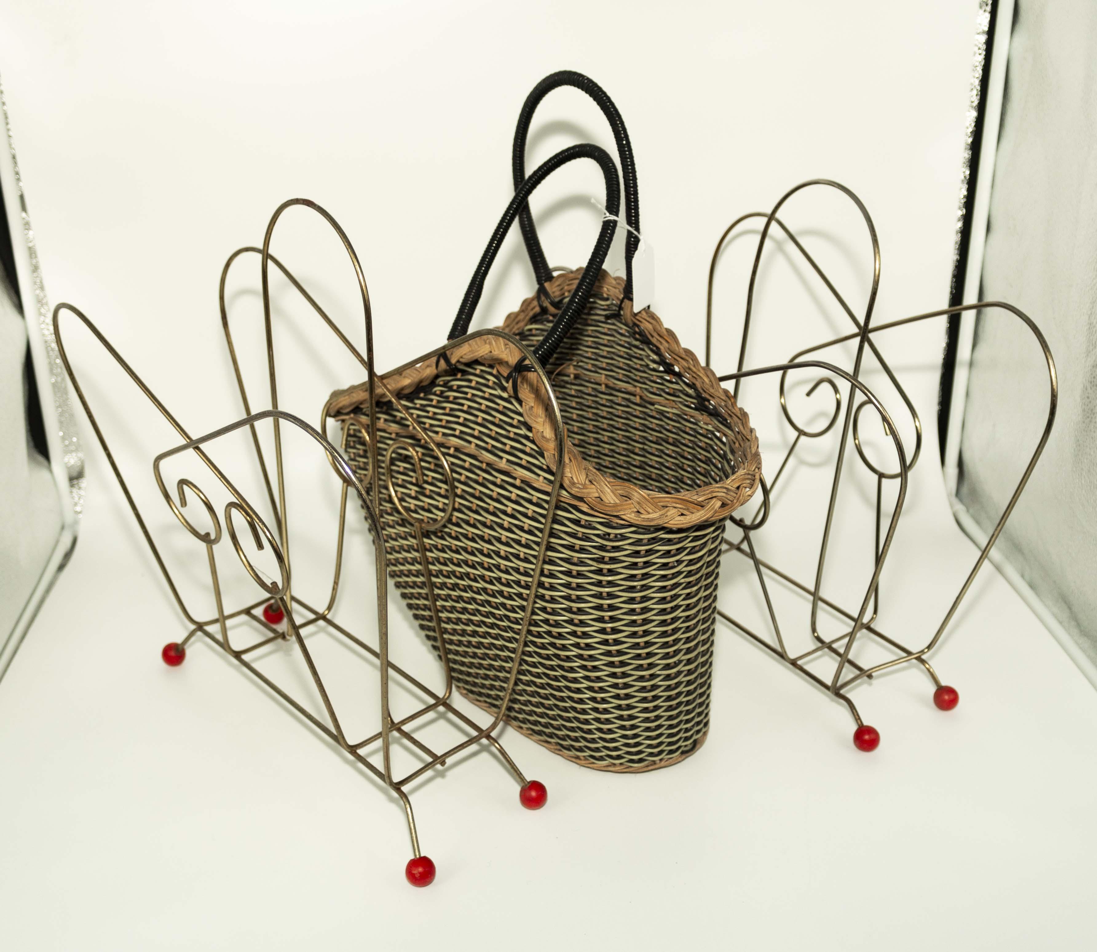Two vintage 1960's magazine racks and a basket