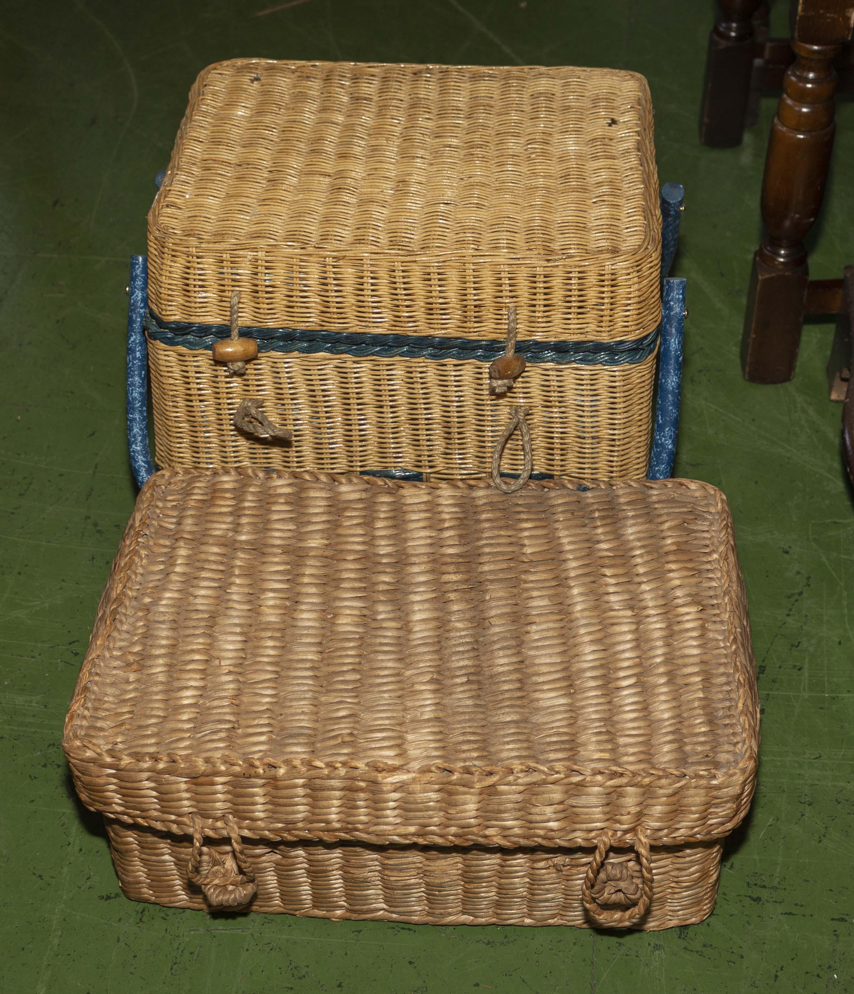 Two wicker picnic baskets