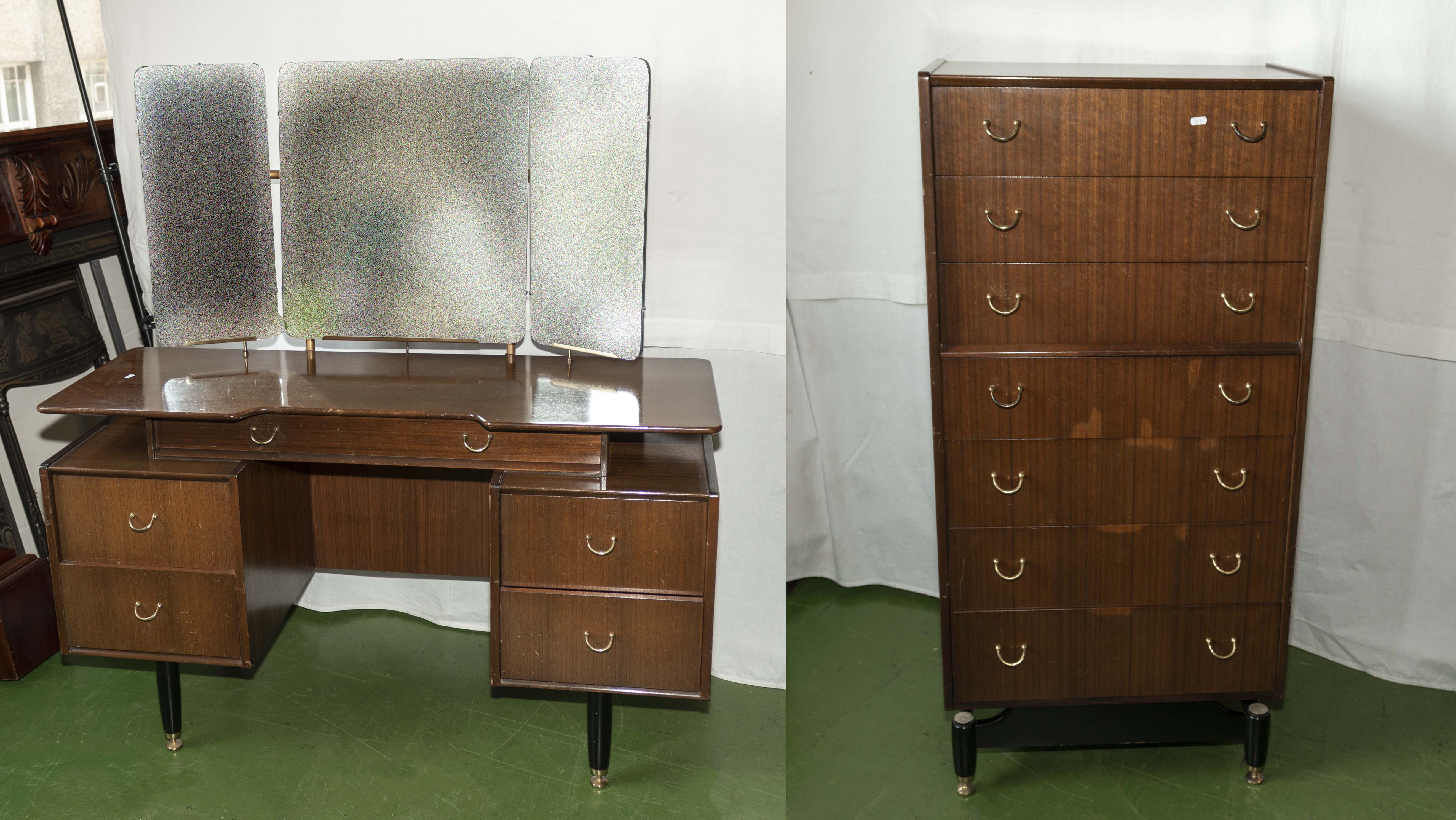 Lot 52 - Two retro bed room pieces.
