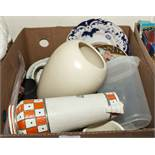A box of pottery and other items