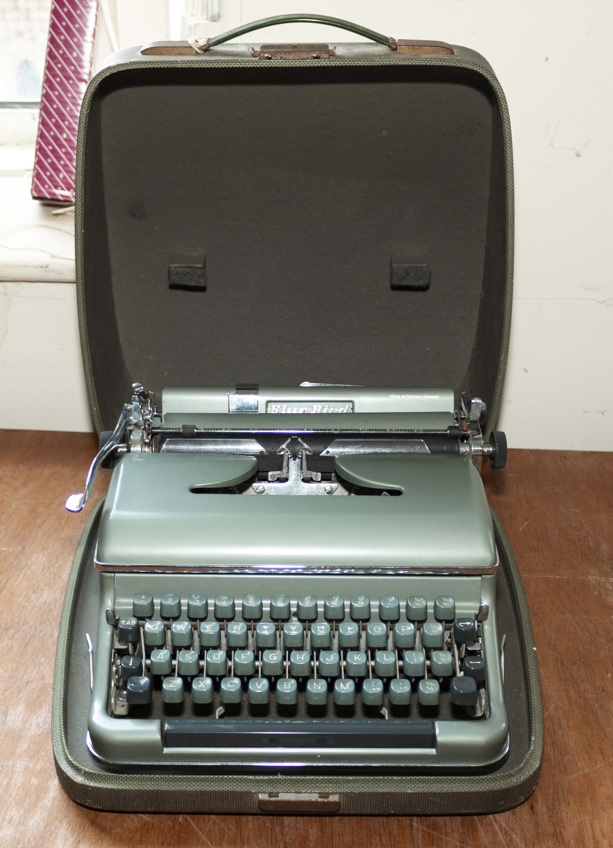 A portable typewriter