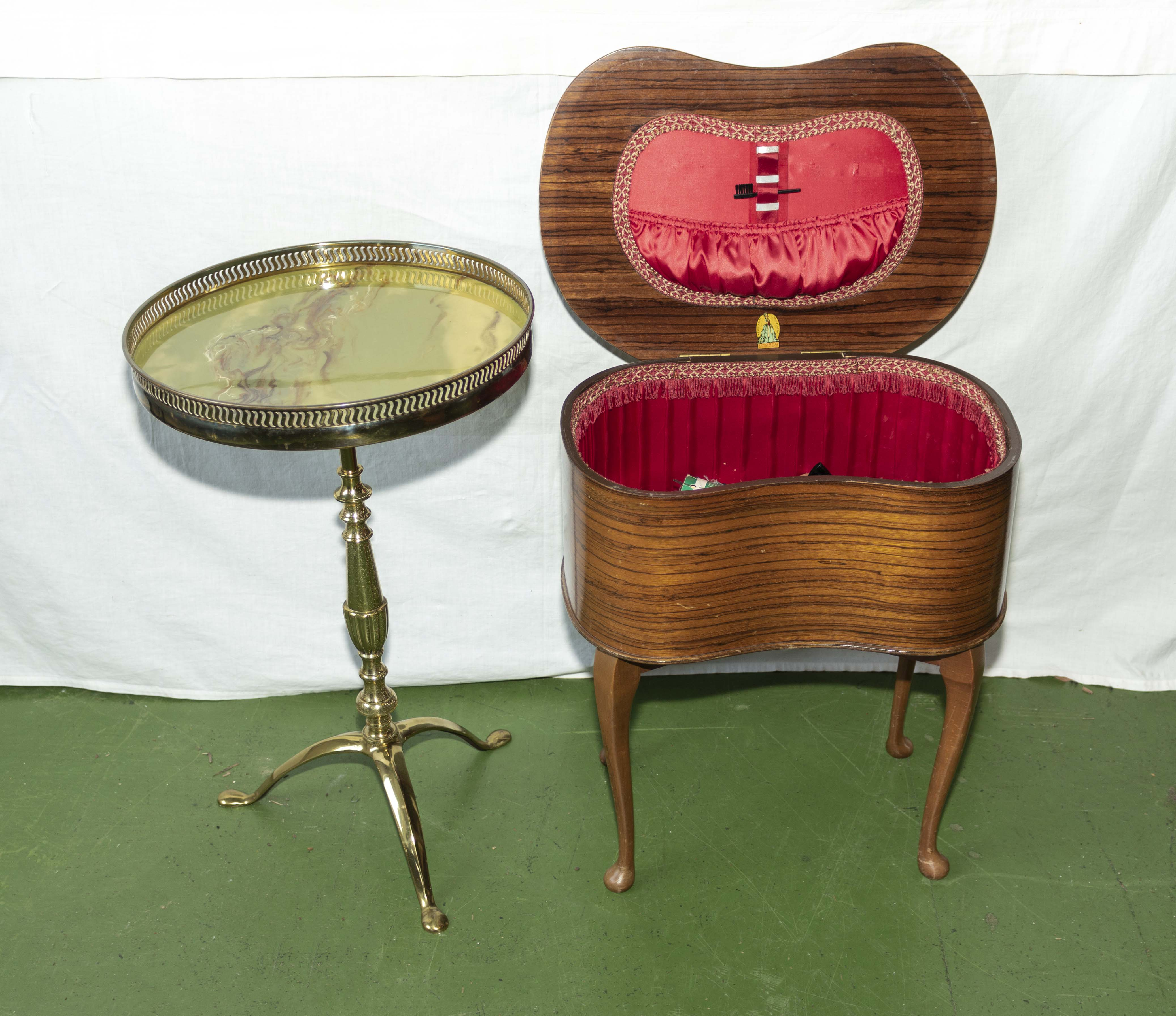 Lot 39 - A wine table and a sewing box