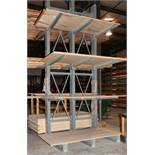 Double Sided Cantilever Rack approx. 16' Tall x 75 Inch Long, 47 1/2 Inch Arms, No Contents