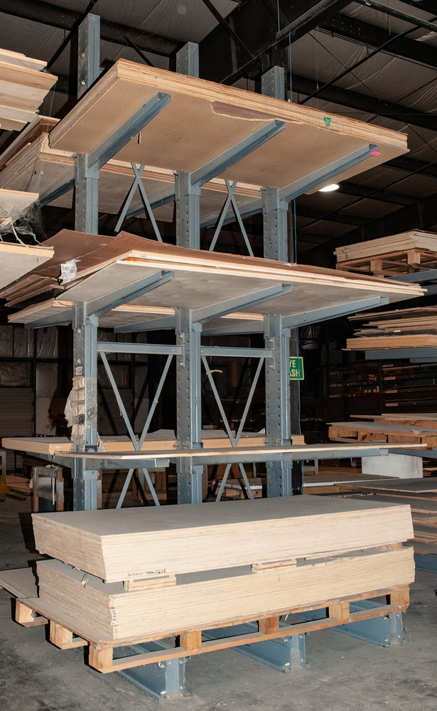 Double Sided Cantilever Rack approx. 16' Tall x 76 Inch Long, 47 1/2 Inch Arms, No Contents