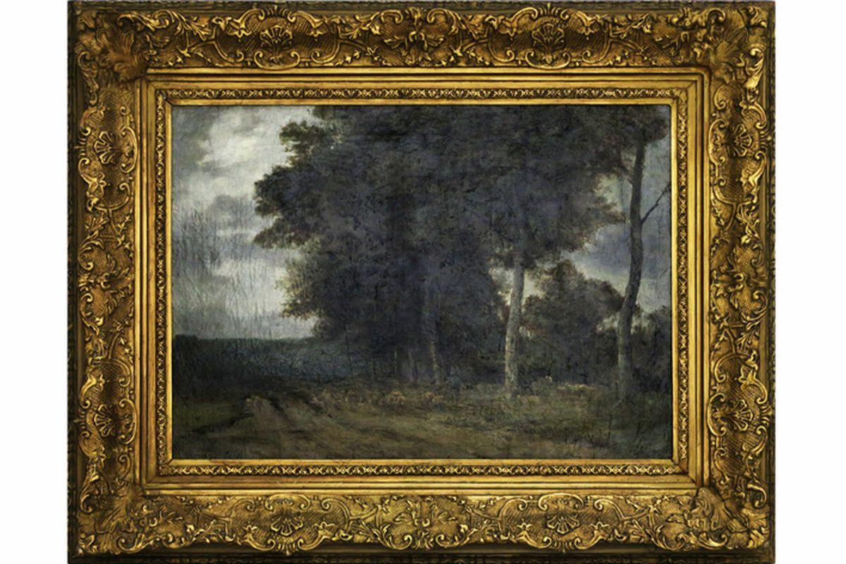 """Los 44 - DE COCK CÉSAR (1823 - 1904) olieverfschilderij op doek : """"Herder met schapen onder [...]"""