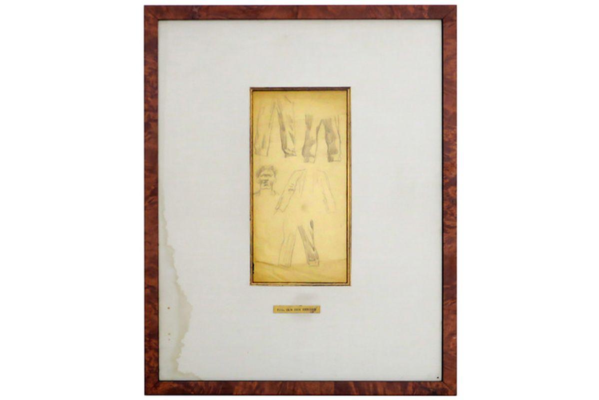 Los 48 - VAN DEN BERGHE FRITS (1883 - 1939) studietekening voor een man, een ontwerp voor een [...]