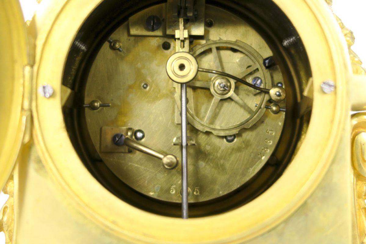 ÉBERLÉ antieke driedelige neoclassicistische garnituur in witte marmer en [...] - Bild 4 aus 4
