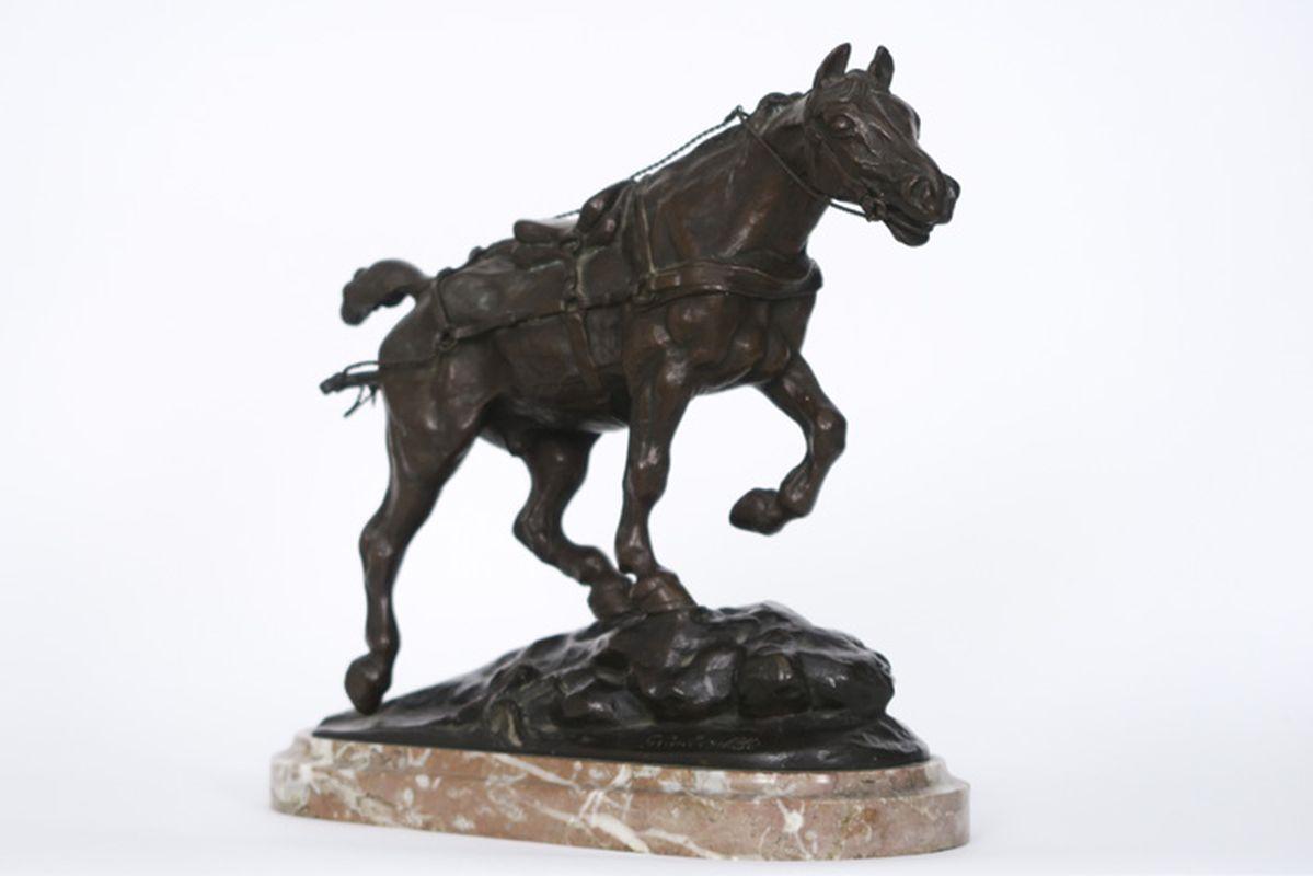 """Los 33 - COLSOULLE GUSTAVE (1843 - 1895) antieke sculptuur in brons : """"Trekpaard"""" - hoogte [...]"""