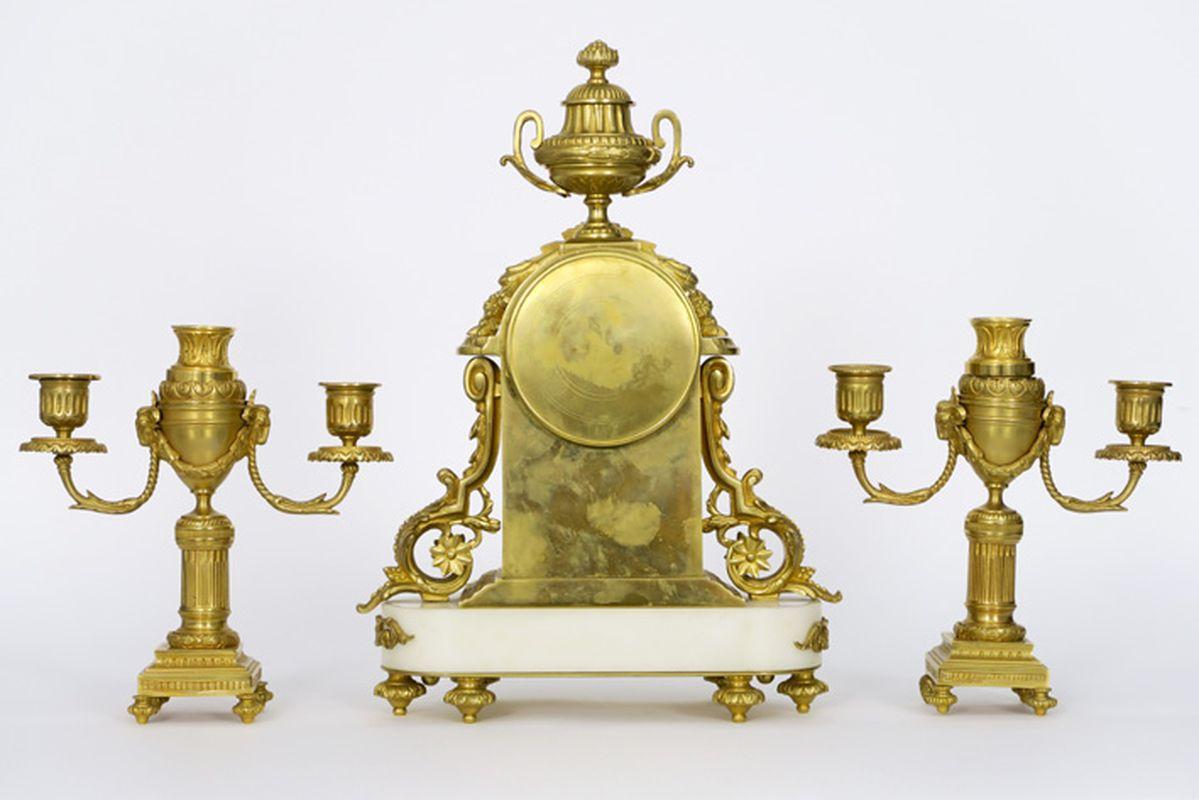 ÉBERLÉ antieke driedelige neoclassicistische garnituur in witte marmer en [...] - Bild 3 aus 4