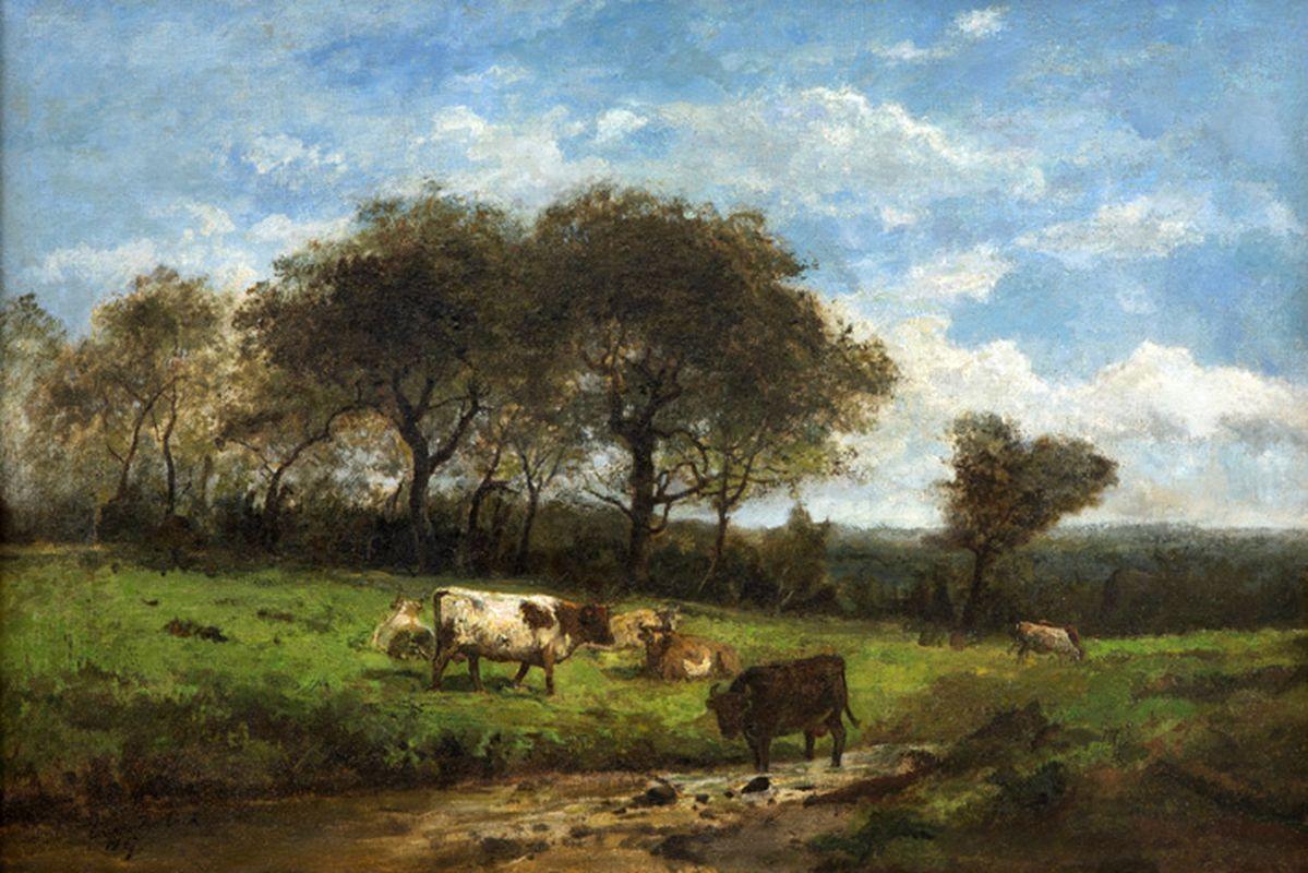 """Los 45 - DE COCK CÉSAR (1823 - 1904) olieverfschilderij op doek : """"Landschap met koeien"""" - [...]"""