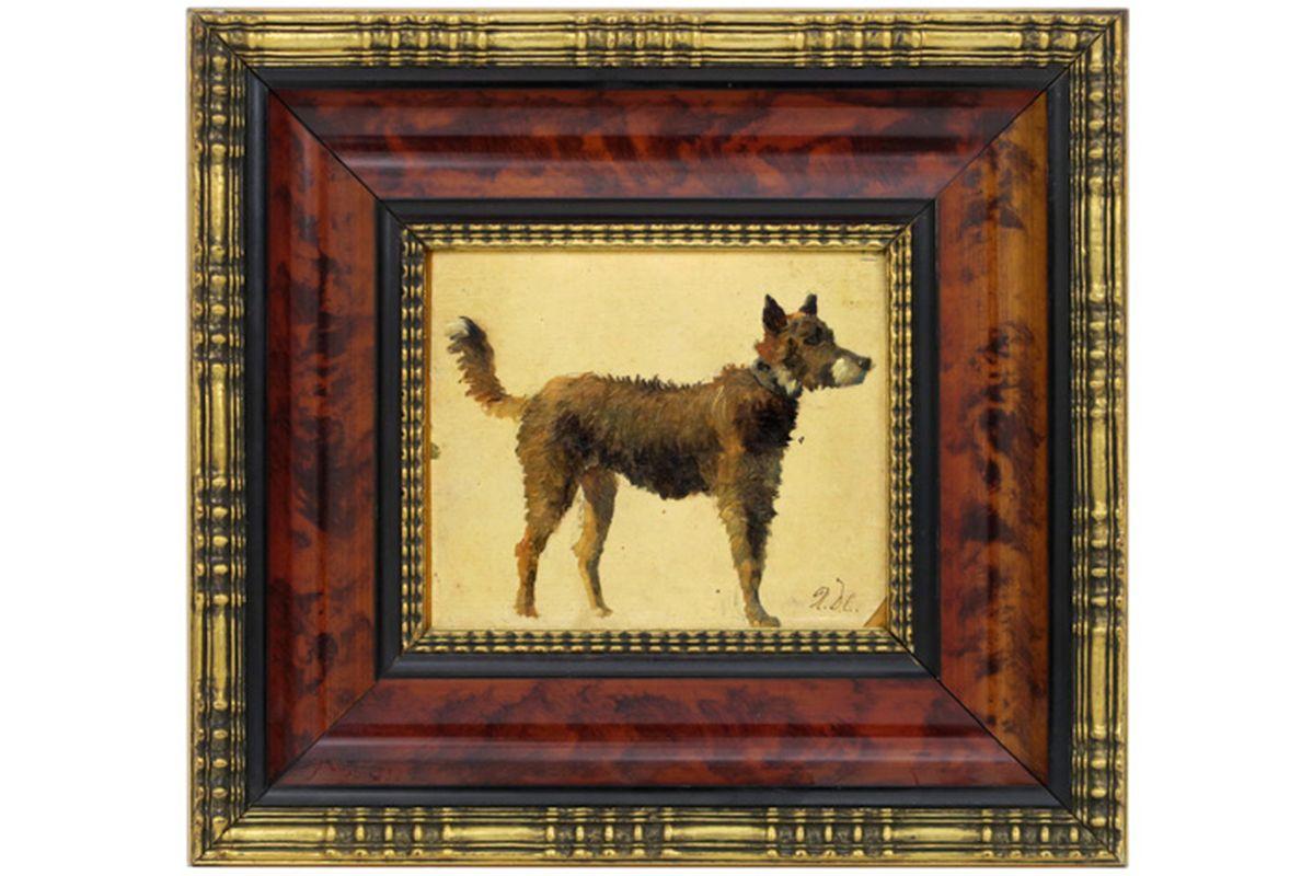 """Los 45b - DE COCK XAVIER (1818 - 1896) olieverfschilderij op doek : """"Hond"""" - 12 x 14 [...]"""