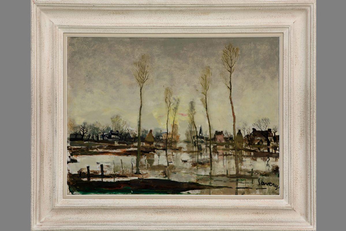 """Los 46 - SAVERYS ALBERT (1886 - 1964) olieverfschilderij op paneel : """"Zicht van de Leie in de [...]"""
