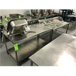 """S/S Tables, (1) Aprox. 60"""" L x 30"""" W x 34"""" H with S/S Bottom Shelf, and Aprox. 72"""" L x 32"""" W x 32-"""