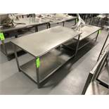 """S/S Tables, (1) Aprox. 60"""" L x 30"""" W X 34"""" H with S/S Bottom Shelf, and Aprox. 72"""" L x 30"""" W x 22"""" H"""