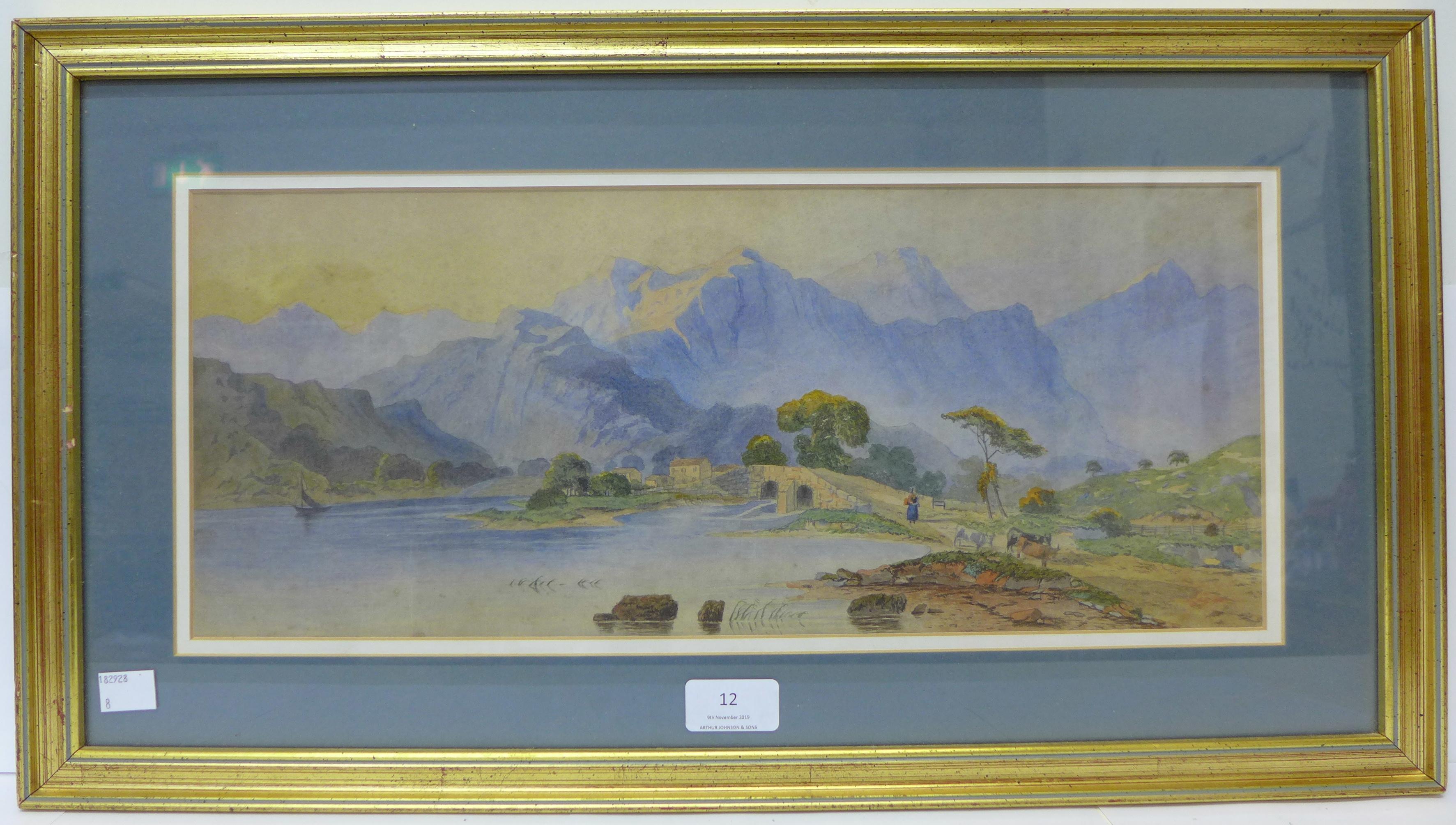 Continental School, Alpine landscape, watercolour, 18 x 44cms, - Image 2 of 2