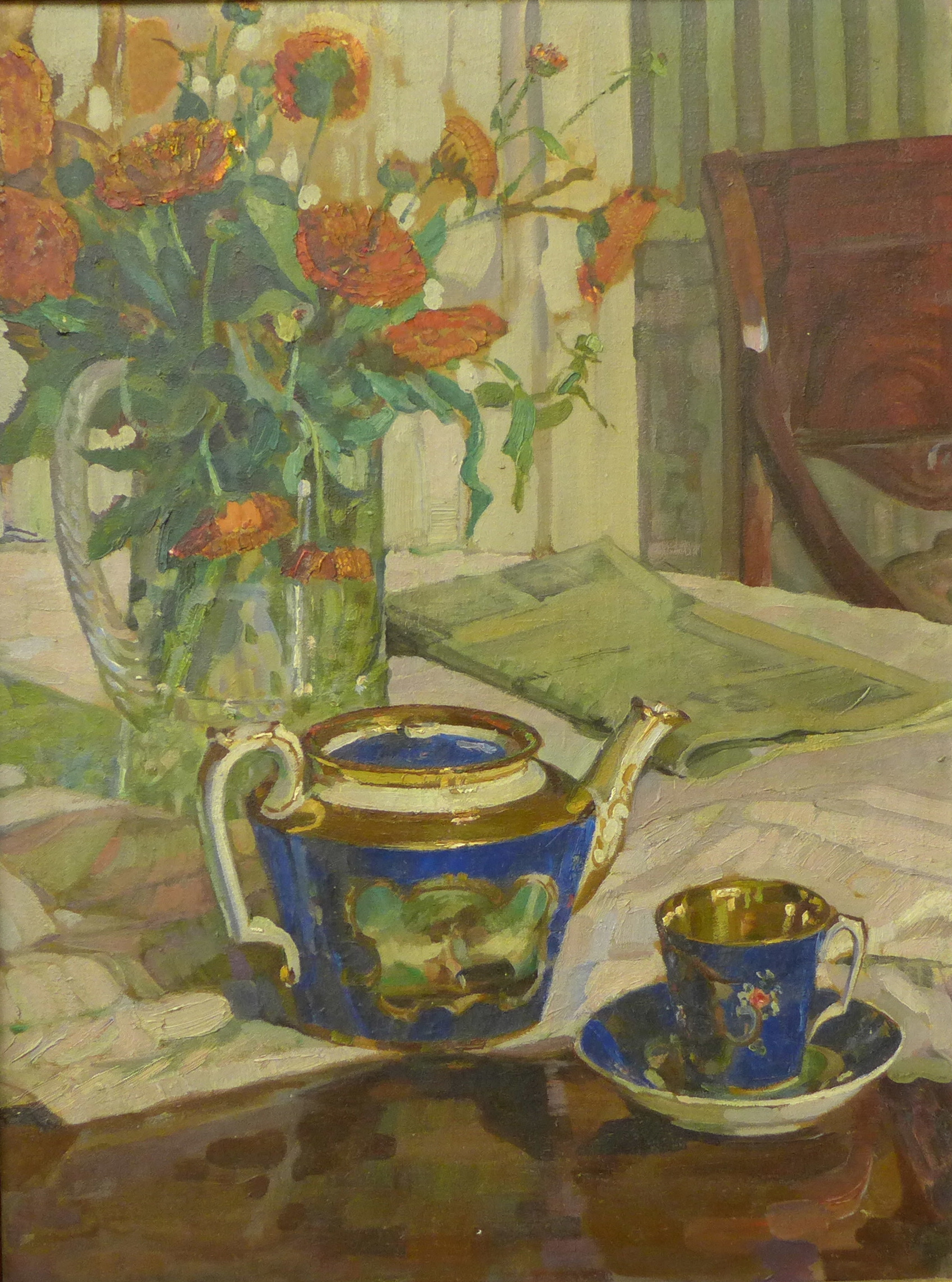 Lot 22 - English School (early 20th Century), still life of flowers, oil on canvas, 60 x 44cms,