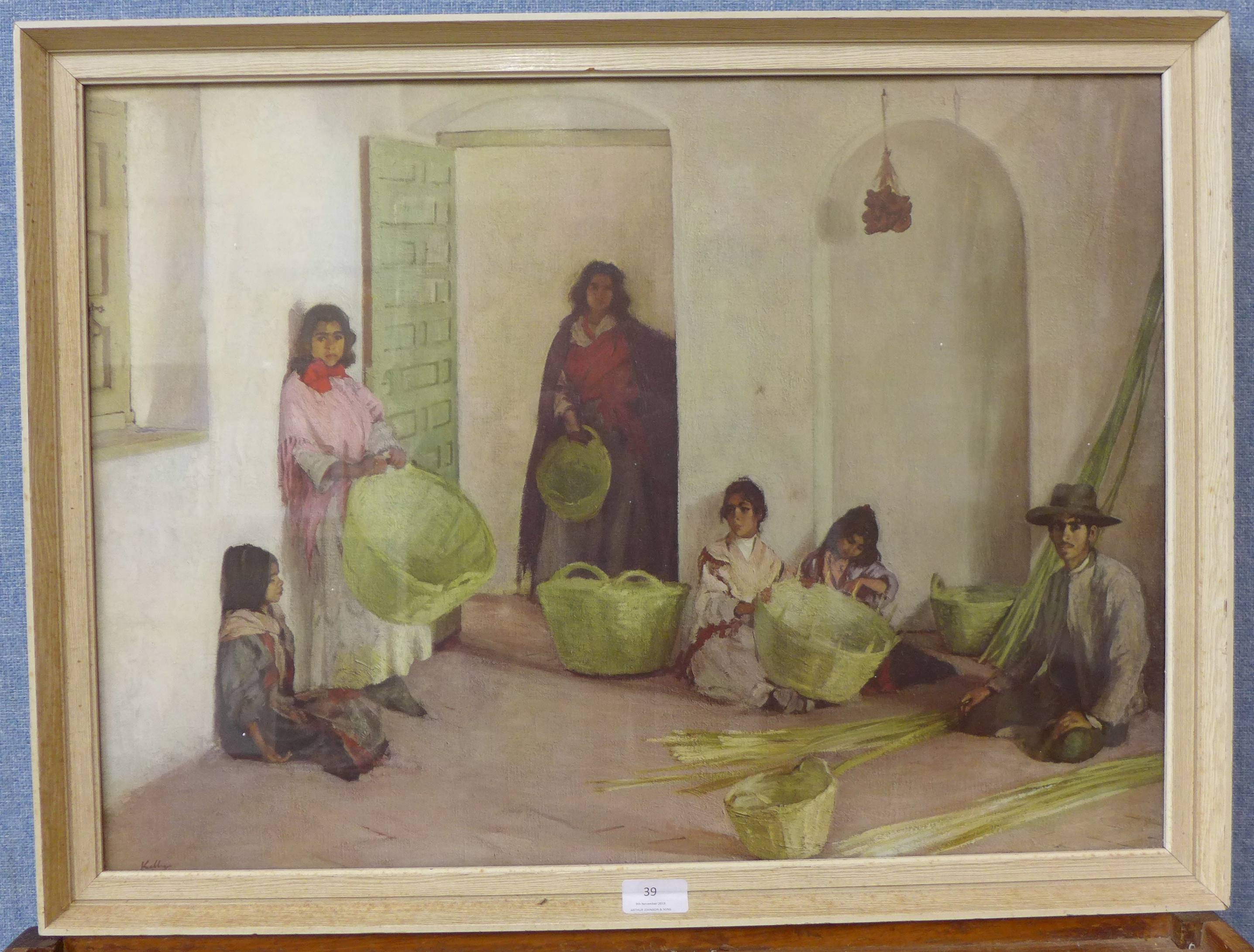 Lot 39 - A Sir Gerald Kelly print, The Basket Makers,