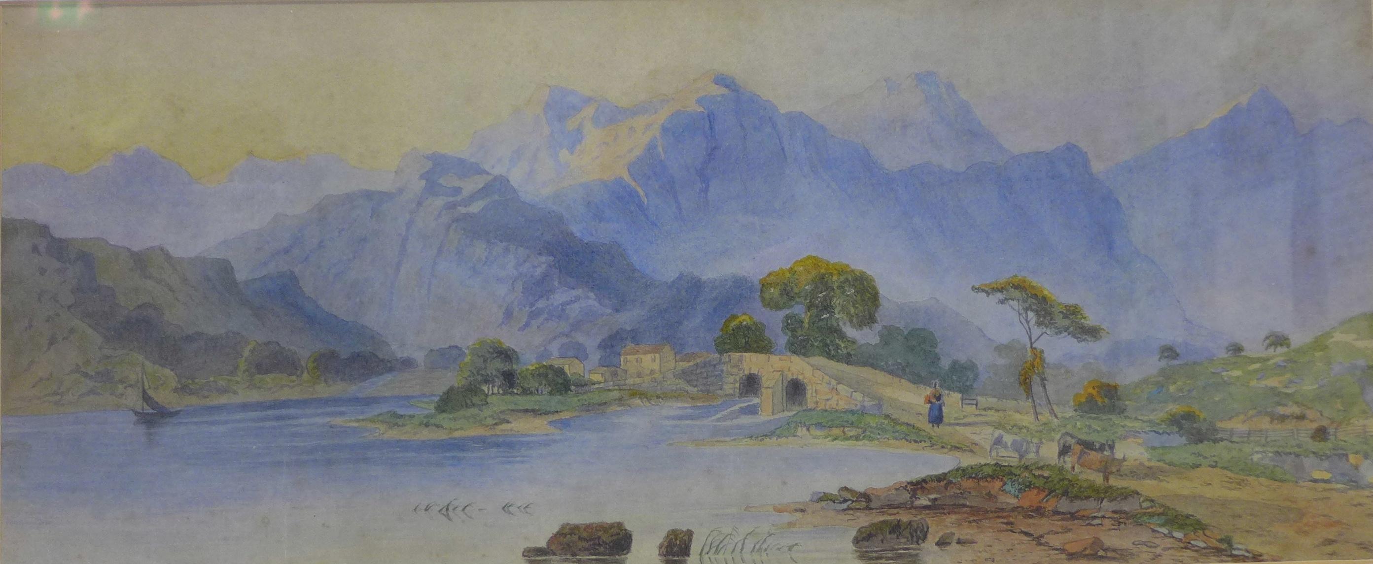 Continental School, Alpine landscape, watercolour, 18 x 44cms,