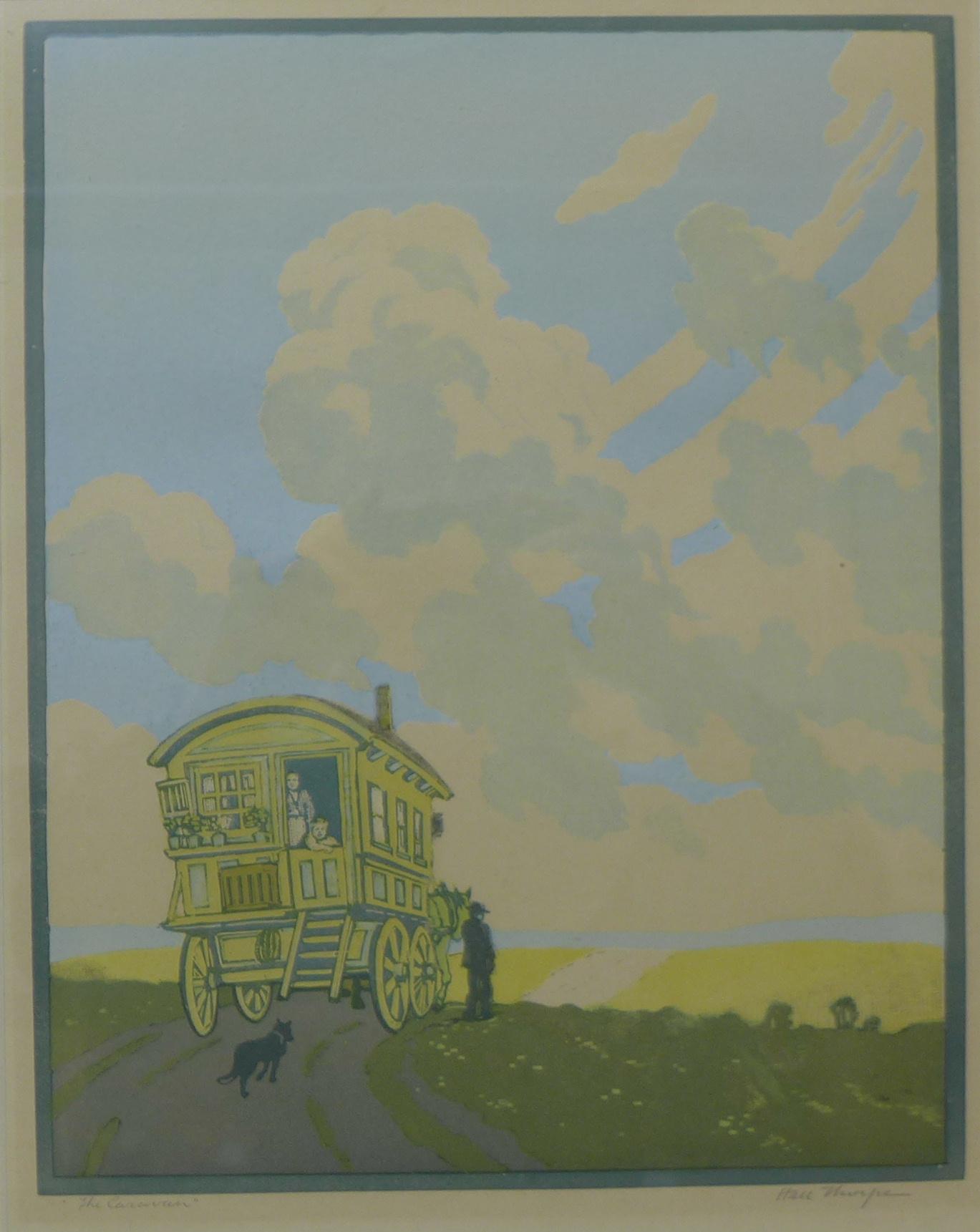 Lot 37A - A signed Hall Thorpe colour woodcut print, The Caravan, 36 x 28cms,