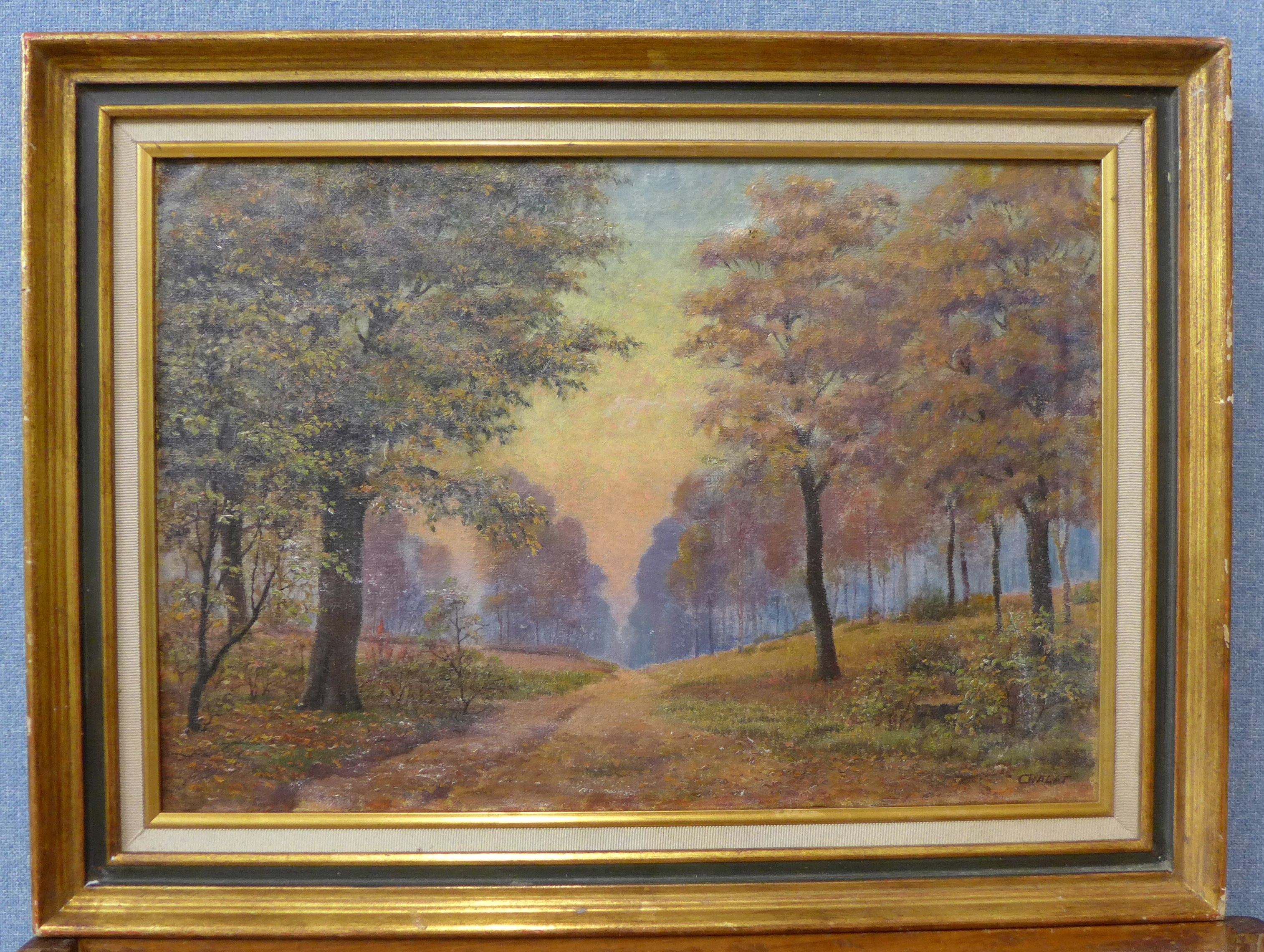 Lot 10 - French Impressionist School, rural landscape, oil on canvas, indistinctly signed, 37 x 54cms,