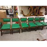 A Set Of 6 X Carved Oak Side Chairs With Green Leather Pad And Back RestIntricately Carved Side