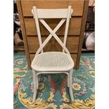 A Pair of Provence French Grey Wooden Cross Back Dining Chairs