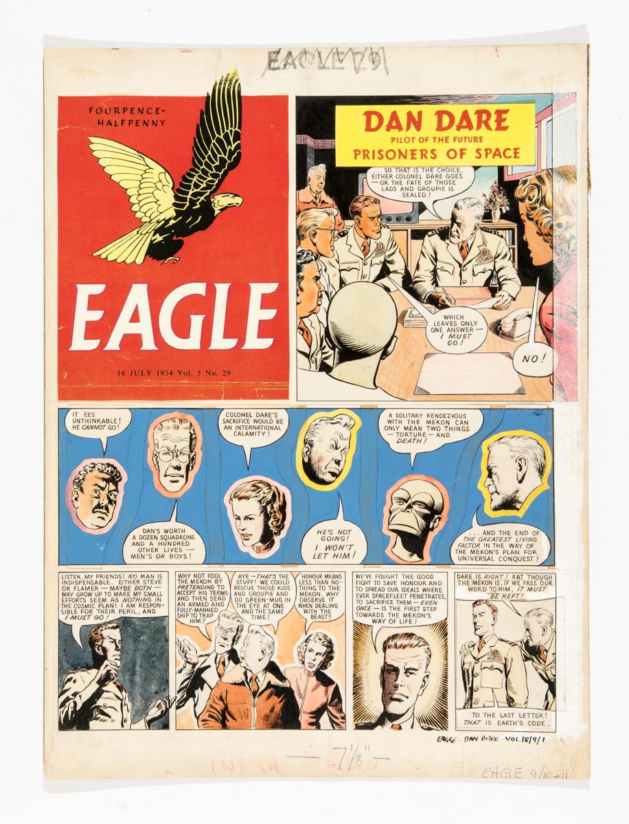 Lot 115 - Dan Dare original front cover artwork by Desmond Walduck from The Eagle (1954) Vol 5: No 29. Dan