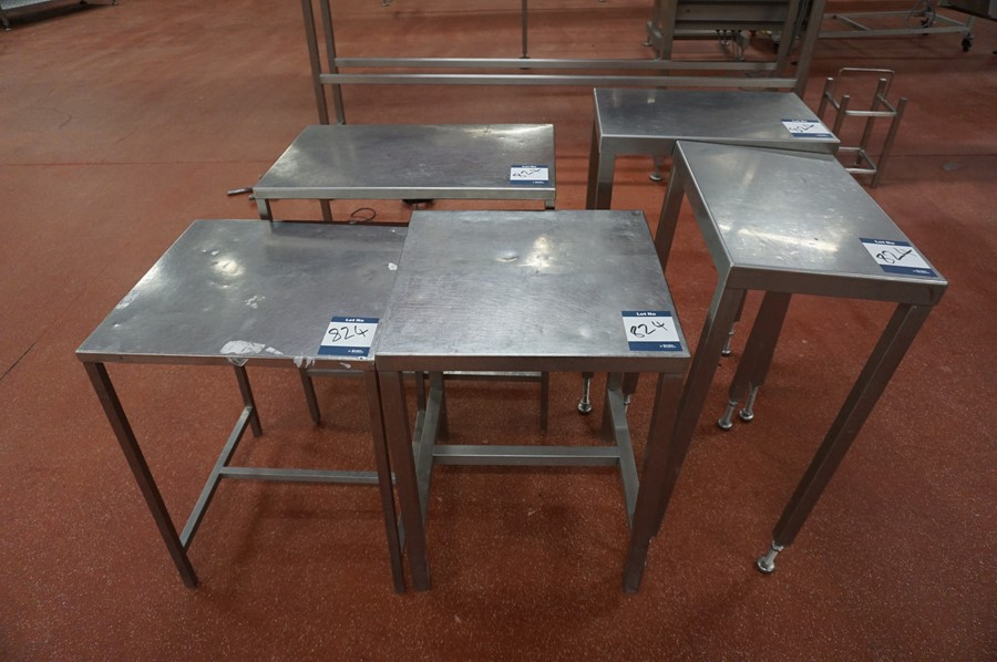 Lot 824 - 5 x Various stainless steel prep tables, as lotted
