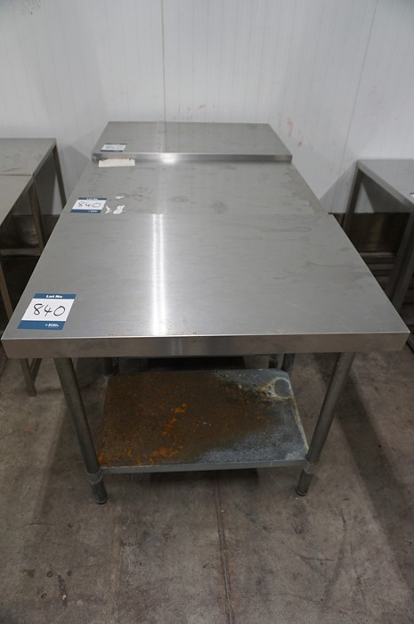 Lot 840 - 3 x Various stainless steel prep tables, as lotted